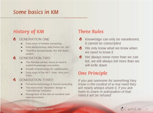 Snowden: some basics in KM