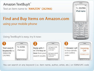 "Amazon advert with headline ""Find and Buy Items on Amazon.com using your mobile phone"""