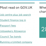 Most read on GOV.UK list