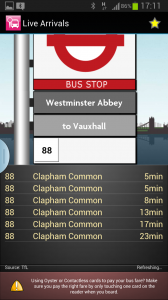 Bus checker screen shot