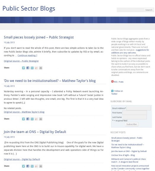 Screenshot from Public Sector Blogs