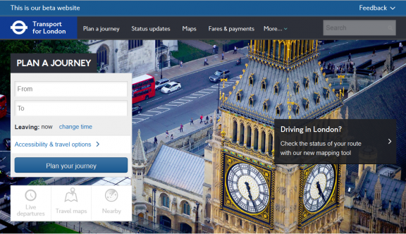 TfL beta site top banner