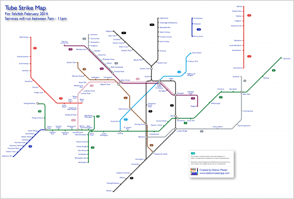 Tube Strike Map