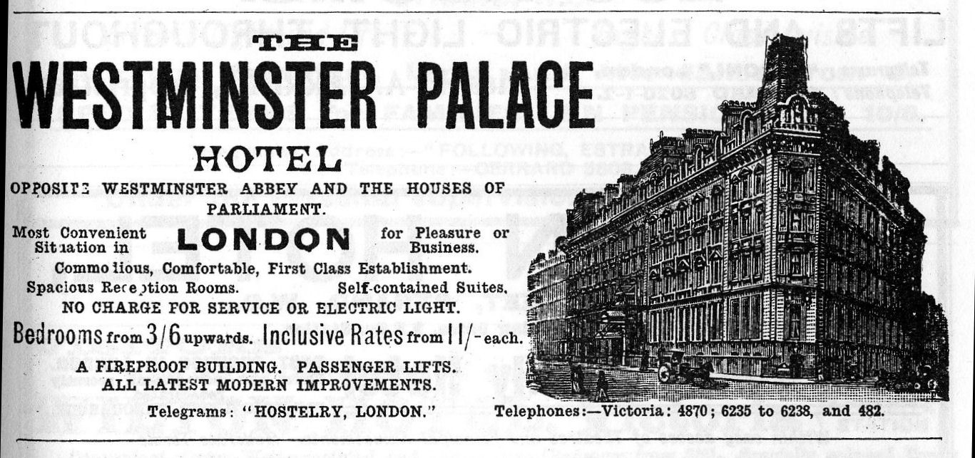 "1913 advert including the line ""no charge for service or electric light"""