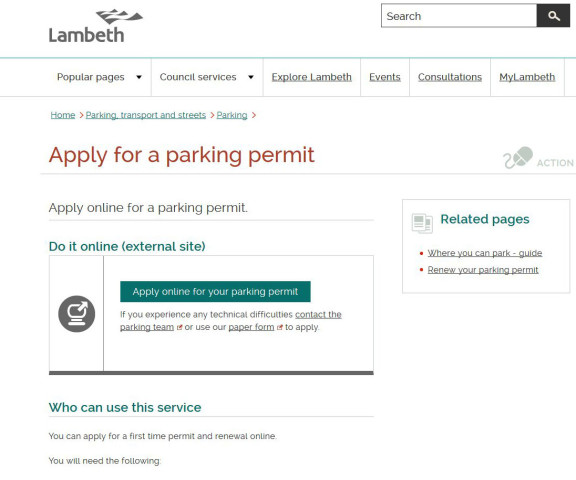 Lambeth parking permit landing page