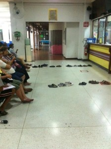 Shoes queuing for people